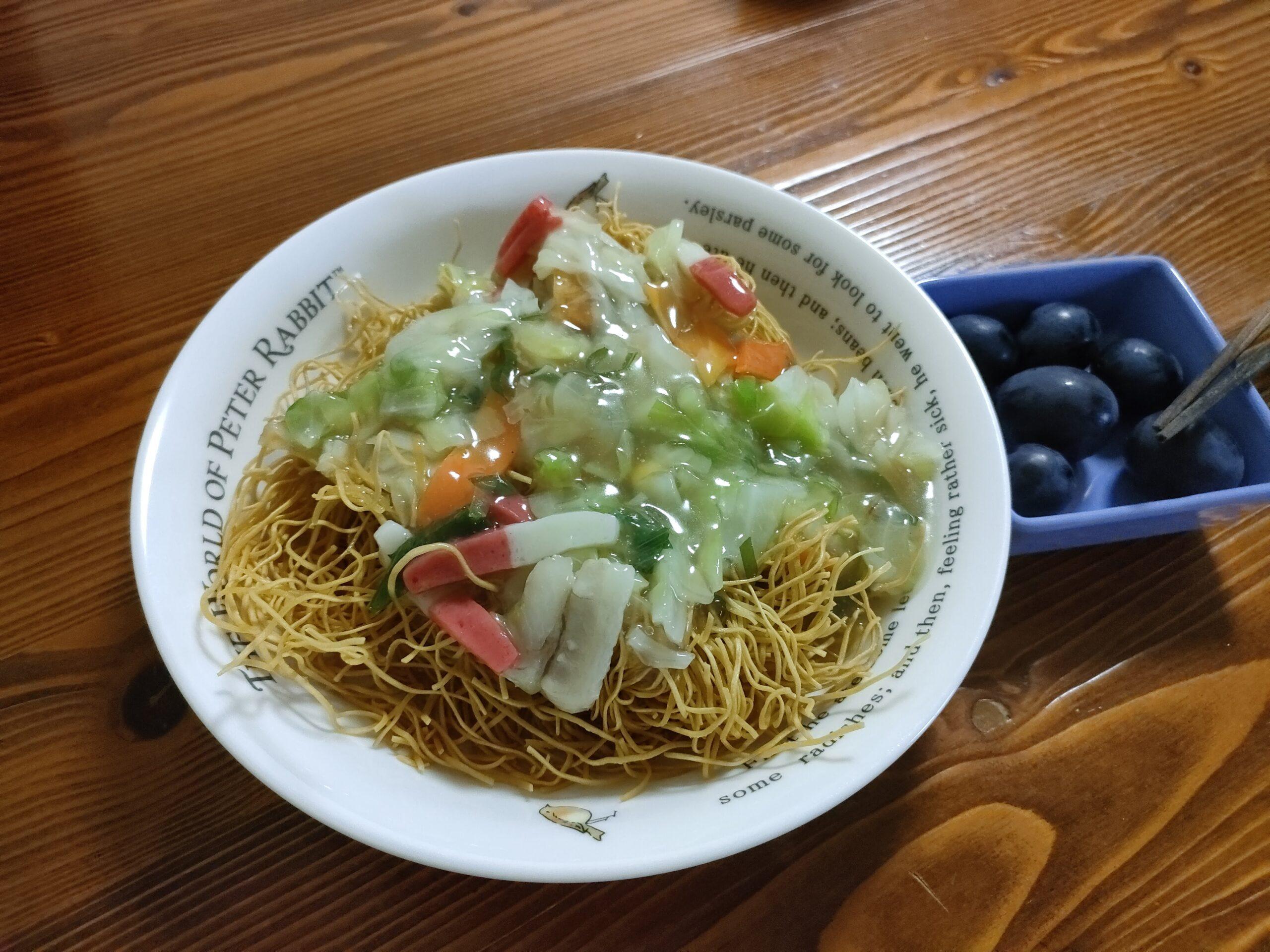 涼しい夏。関門トンネル人道を歩いた晩のご飯はリンガーハットの冷凍皿うどんでした。